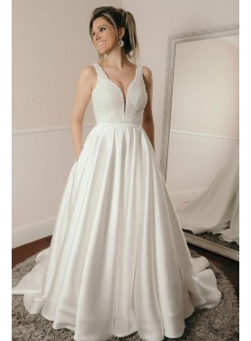2021 New Arrival A Line Sweetheart Satin Beaded Long Wedding Dresses