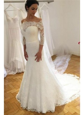 2021 Elegant Sheath Long Sleeves Lace Off Shoulder Sweetheart Long Wedding Dresses