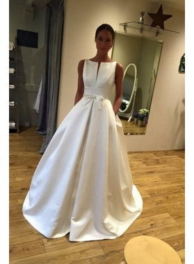A Line Classic Satin Bateau Bowknot Long Wedding Dresses 2021