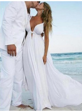 Amazing A Line Chiffon Sweetheart Cheap Backless Beach Wedding Dresses 2021