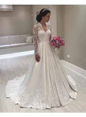 2021 A Line Classic Satin Long Sleeves V Neck Lace Long Wedding Dresses