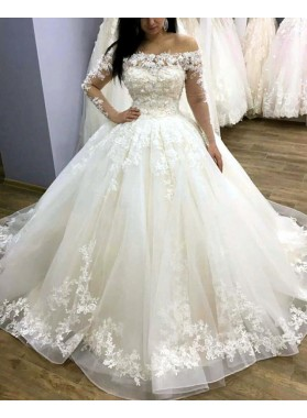 2021 New Designer Long Sleeves Off Shoulder Flowers Ball Gown Lace Up Wedding Dresses