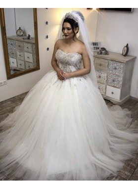 New Arrival Strapless Tulle Ivory Sweetheart Ball Gown Wedding Dresses 2021