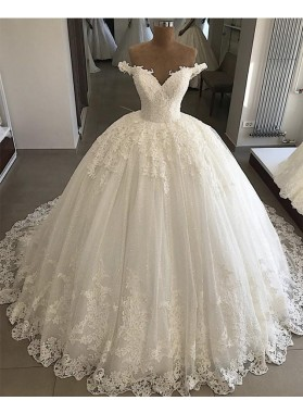 Luxury Sweetheart Off Shoulder Long Lace Ball Gown Lace Up Back Wedding Dresses 2021