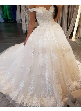 2021 New Designer Off Shoulder Sweetheart Lace Up Back Long Wedding Dresses