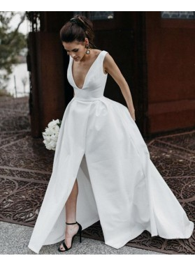 Amazing A Line Side Slit Satin V Neck Backless Long Wedding Dresses 2021
