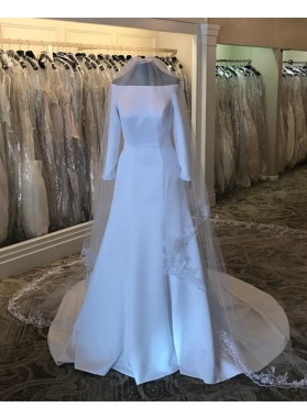 2020 New Arrival A Line Satin Off Shoulder Long Sleeves Long Wedding Dresses
