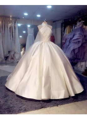 2021 Luxury Halter Satin Ball Gown Ivory Long Backless Wedding Dresses