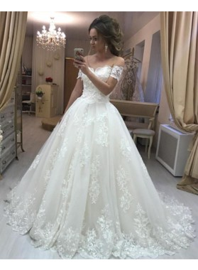Elegant A Line Off Shoulder V Neck Lace Wedding Dresses With Short Sleeves 2021