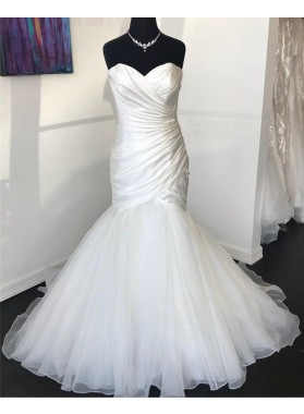 2020 Sexy Mermaid Organza With Satin Sweetheart Pleated Wedding Dresses