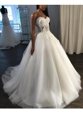 Amazing Sweetheart Tulle With Applique Ball Gown Lace Up Back Long Wedding Dresses 2020
