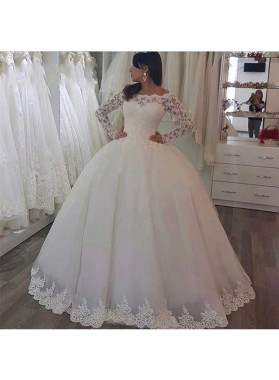 2021 Classic Off Shoulder Long Sleeves Lace Ball Gown Wedding Dresses