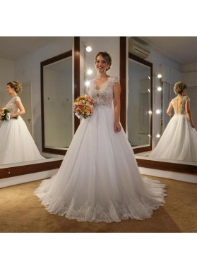 2020 Classic A Line Capped Sleeves Tulle V Neck Backless Long Wedding Dresses With Sequence