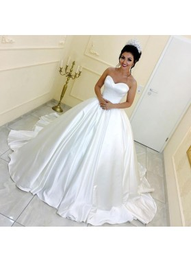 2020 Classic Sweetheart Long Train Satin Strapless Ivory Ball Gown Wedding Dresses