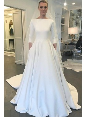 Elegant A Line Long Sleeves Satin Long Simple 2020 Wedding Dresses