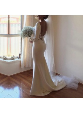 Amazing Sheath Satin Backless Long Sleeves Lace Long Side Slit Wedding Dresses 2021