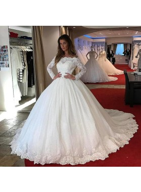 2021 Amazing Long Sleeves Lace Off Shoulder Ball Gown Long Lace Up Back Wedding Dresses