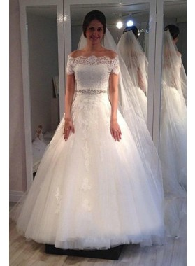 Elegant Off Shoulder Lace Tulle A Line 2020 Wedding Dresses With Short Sleeves