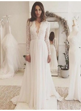 2019 Amazing A Line Deep V Neck Lace Long Sleeves Backless Wedding Dresses