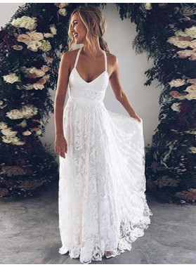 Cheap A Line Halter Sweetheart Lace Backless Beach Wedding Dresses 2019
