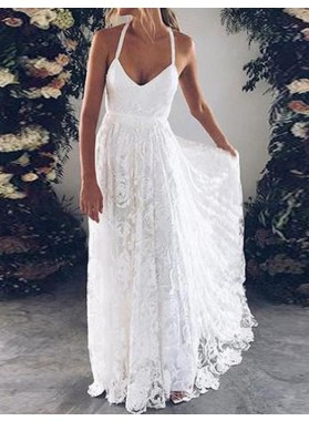 Cheap A Line Halter Sweetheart Lace Backless Beach Wedding Dresses 2021