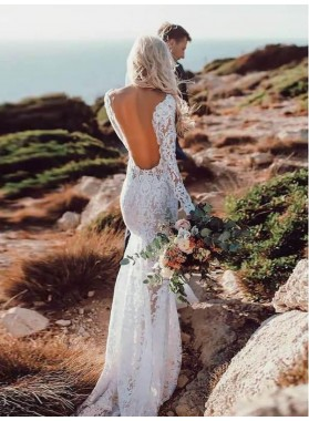 Sexy Lace Sheath Backless Long Sleeves Sweetheart See Through 2019 Beach Wedding Dresses