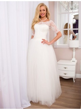 2020 Cheap A Line Tulle Off Shoulder Long Sleeves Lace Floor Length Lace Up Back Wedding Dresses