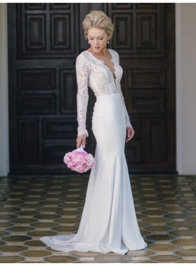 Charming Sheath Deep V Neck Long Sleeves Backless Lace 2020 Wedding Dresses