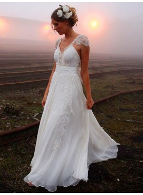 Cheap A Line Sweetheart Chiffon Capped Sleeves Backless Beach Wedding Dresses 2021