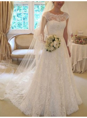 2020 Classic A Line Capped Sleeves Lace Bowknot Long Wedding Dresses