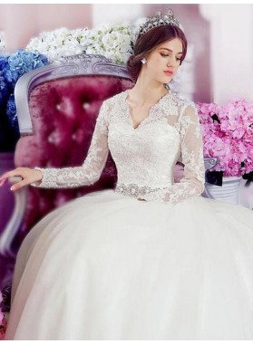 2021 Princess V Neck Long Sleeves Lace Tulle Ball Gown Wedding Dresses