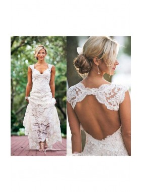 2019 Classic Sheath Sweetheart Lace Backless Outdoor Wedding Dresses