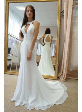 2019 White Sheath Lace Up Back Chiffon Key Hole Backless Beach Wedding Dresses