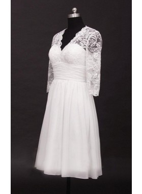 2021 A Line Cheap V Neck Long Sleeves Chiffon Knee Length Short Lace Wedding Dresses