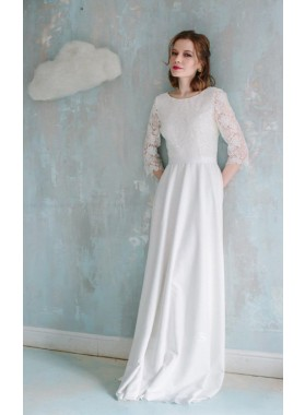 2019 Classic A Line Long Sleeves Lace Round Neck Bowknot Wedding Dresses