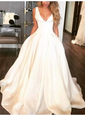 Charming A Line Satin Deep V Neck Long Ivory Wedding Dresses 2019