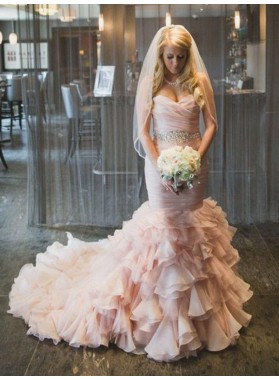 2019 Luxury Mermaid Sweetheart Organza Long Lace Up Pink Layered Wedding Dresses