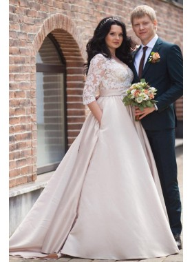 2021 Cheap A Line Satin Champagne Long Sleeves Sweetheart Lace Plus Size Wedding Dresses