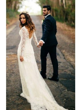Elegant Sheath Long Sleeves Sweetheart Backless Long Lace Wedding Dresses 2020
