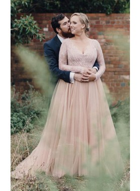 2021 New Arrival A Line V Neck Lace Pink Long Sleeves Tulle Plus Size Wedding Dresses