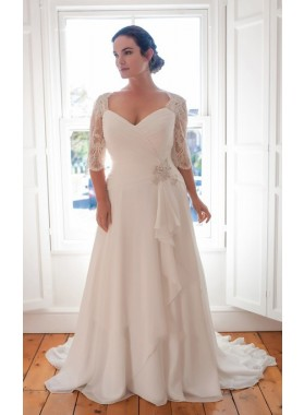 Cheap Chiffon A Line Sweetheart Pleated Long Sleeves Plus Size Beach Wedding Dresses 2019
