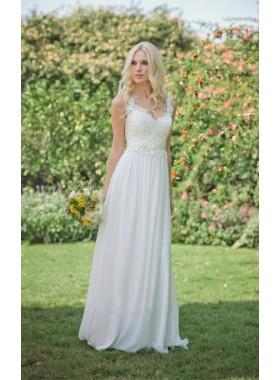 Elegant Chiffon A Line Lace Sweetheart Floor Length 2019 Cheap Beach Wedding Dresses