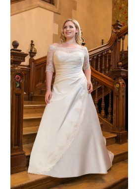 2019 A Line Classic Pleated Off Shoulder Lace Long Sleeves Satin Plus Size Wedding Dresses