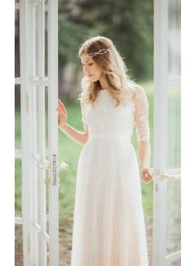 2019 Elegant A Line Half Sleeves Lace Floor Length Tulle Lace Wedding Dresses