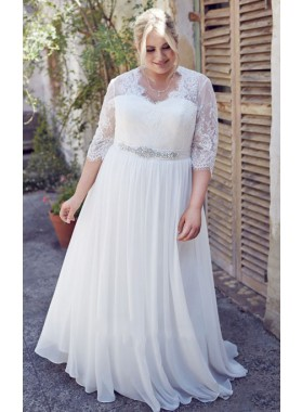 2019 Cheap A Line Chiffon V Neck Long Sleeves Lace Plus Size Beach Wedding Dresses