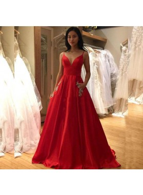 2020 New Arrival A Line Red Satin Sweetheart Spaghetti Straps Backless Long Prom Dresses With Pockets