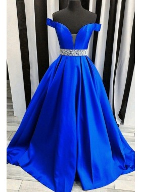 2021 New Arrival A Line Satin Royal Blue Sweetheart Off Shoulder Beaded Long Prom Dresses