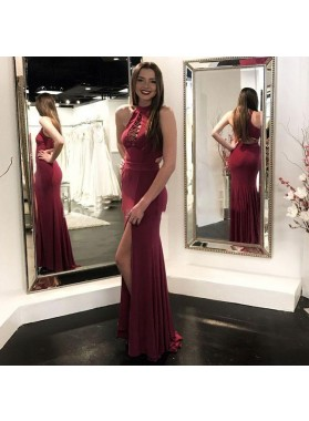 2020 Charming Sheath Burgundy Side Slit Lace Up Front Sleeveless Prom Dresses