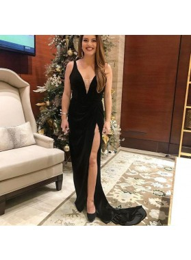 Charming Black Deep V Neck Velvet Sheath Side Slit Prom Dresses 2021