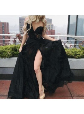 2021 New Arrival A Line Sweetheart One Shoulder Lace Side Slit Long Lace Prom Dresses